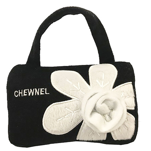 Purse Dog Toy | Chewnel | Black & White Flower