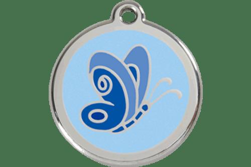 Enamel Dog ID Tag   Butterfly Blue