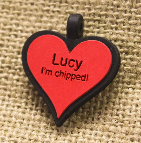 Silent Dog ID Tag   Heart Red