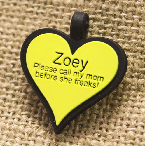 Silent Dog ID Tag   Heart Yellow