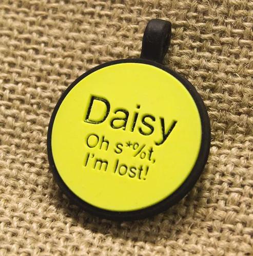 Silent Dog ID Tag   Circle Yellow