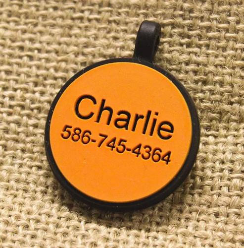 Silent Dog ID Tag   Circle Orange