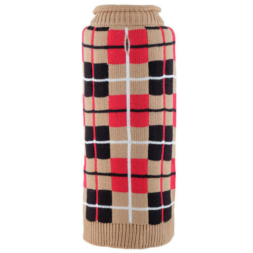 Oxford Plaid Tan Roll Neck Dog Sweater