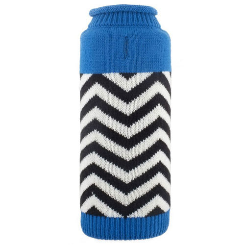 Chevron Roll Neck Dog Sweater | Blue