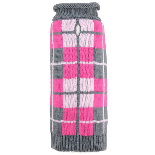 Oxford Plaid Pink Roll Neck Dog Sweater