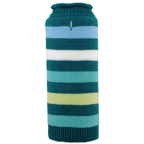 Dapper Stripe Roll Neck Dog Sweater | Teal