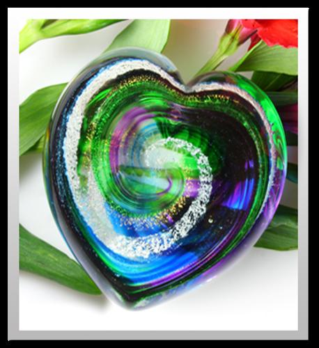 Memorialized Blown Glass Art Ashes | Green/Blue/Purple Heart