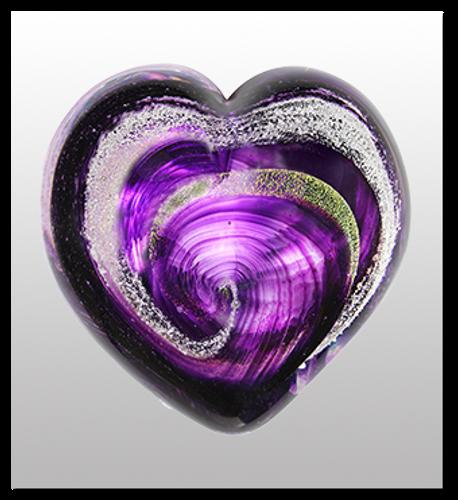 Memorialized Blown Glass Art Ashes | Purple Heart