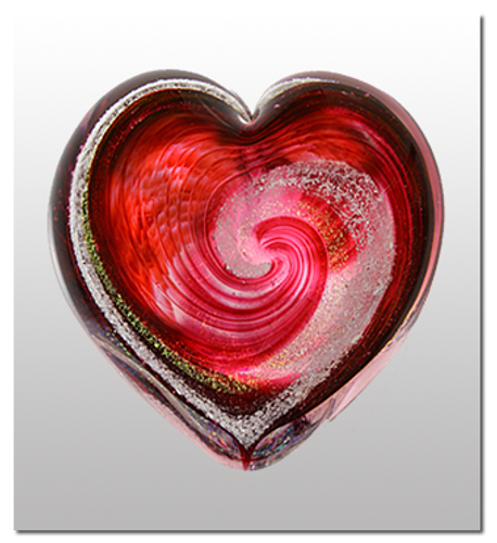 Memorialized Blown Glass Art Ashes | Red Heart