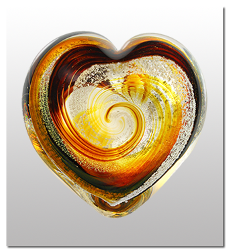 Memorialized Blown Glass Art Ashes | Tiger Eye Heart