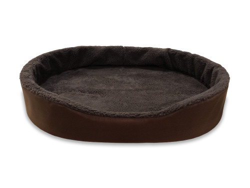 """American Made 40"""" XL-Extra Large Dog Bed King Cuddler. Brown Exterior With Brown Imitation Lambswool Interior. Removable Washable Cover."""