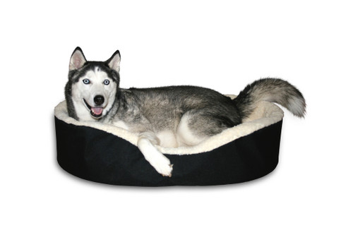 "American Made Small 21x16x7"" Dog Bed King USA Black/Imitation Lambswool Pet Bed. Removable Machine Washable Cover."
