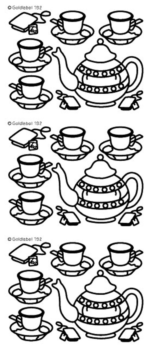 Craft Creations Peel-Off Sticker - Tea Pot & Cups SILVER  192