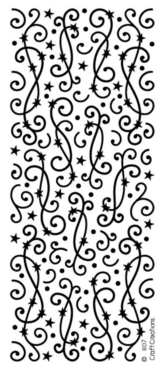 Craft Creations Peel-Off Sticker - Swirls with Stars  SILVER  807