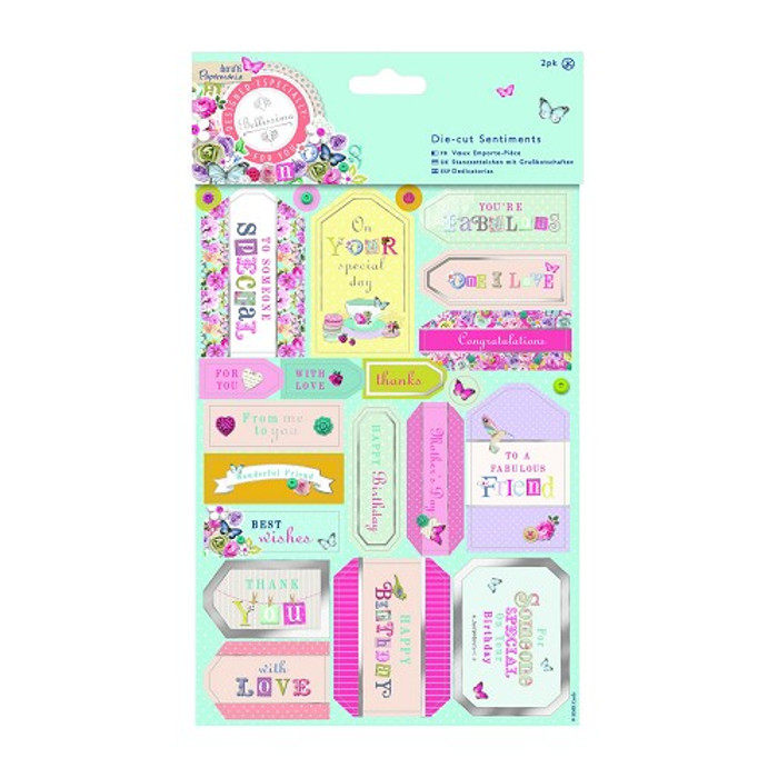Papermania Die-cut Sentiments Foiled (2pk) - Bellissima