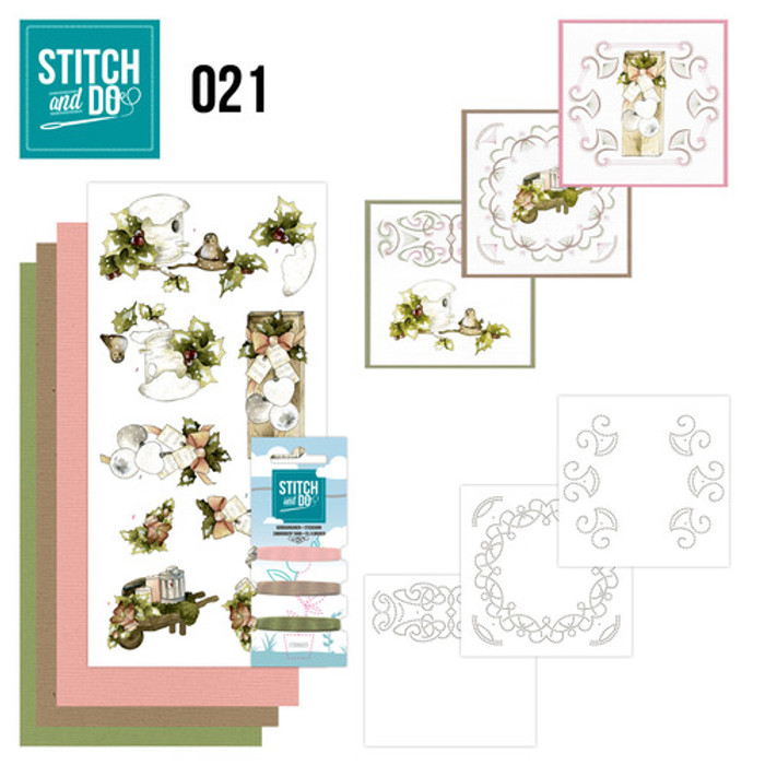 Stitch and Do 21 - Card Embroidery Kit - Rustic Christmas