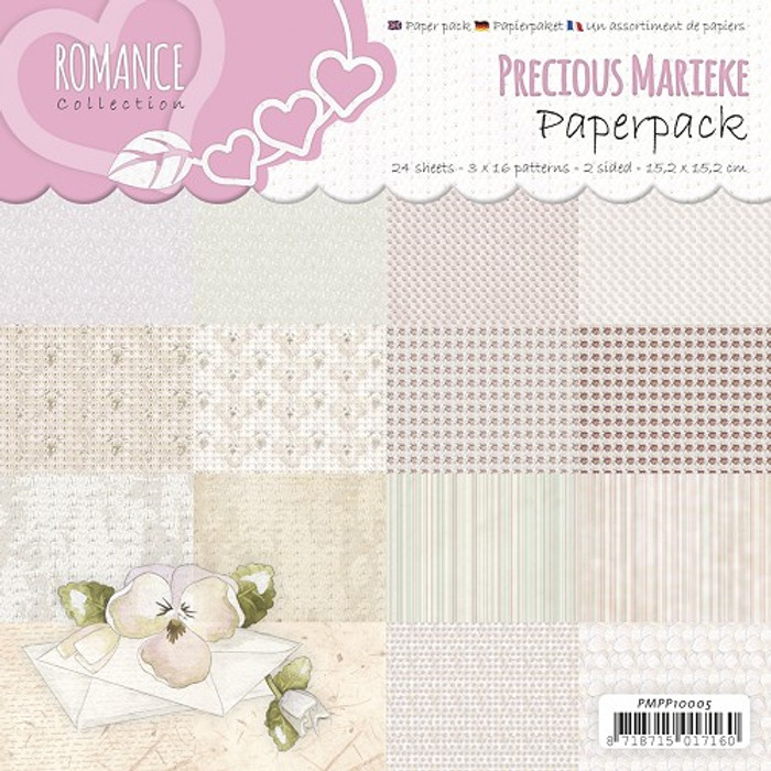 Precious Marieke Paper Pack Romance - 15.2cm x 15.2cm 24 Sheets Double-sided