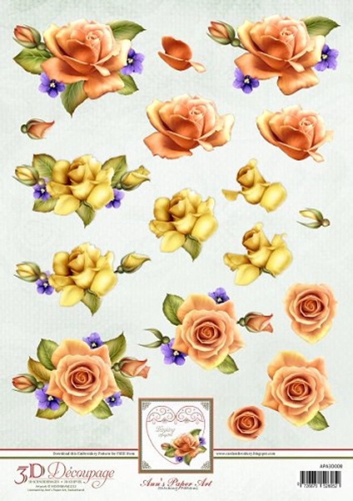 3D Sheet Ann's Paper Art - Orange Roses   APA3D008