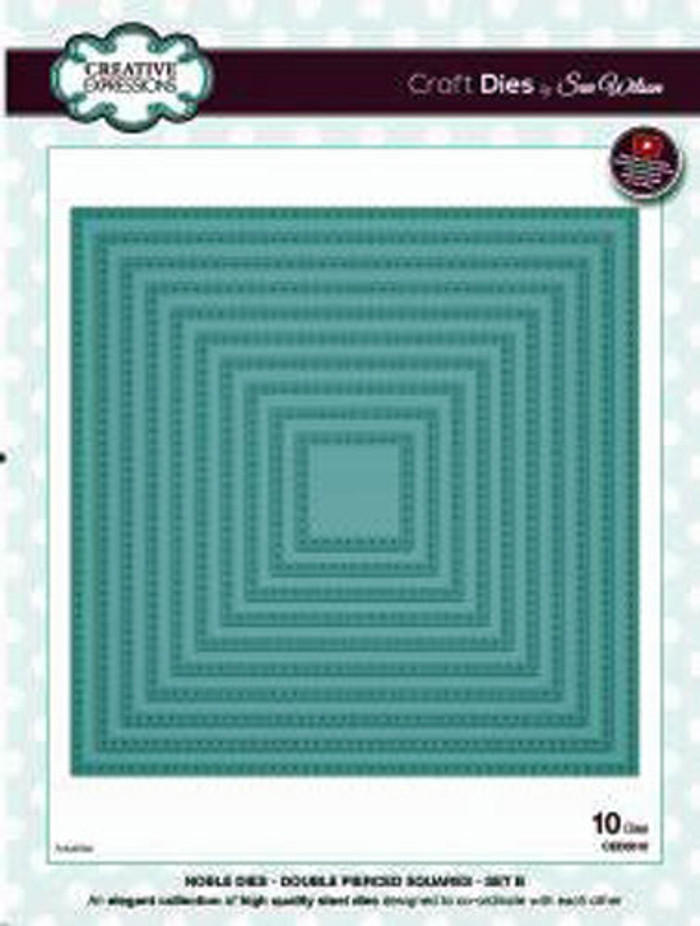Sue Wilson - Noble Collection - Noble Double Pierced Squares - Set B Die CED5510 -  Pre-Order 25% Off