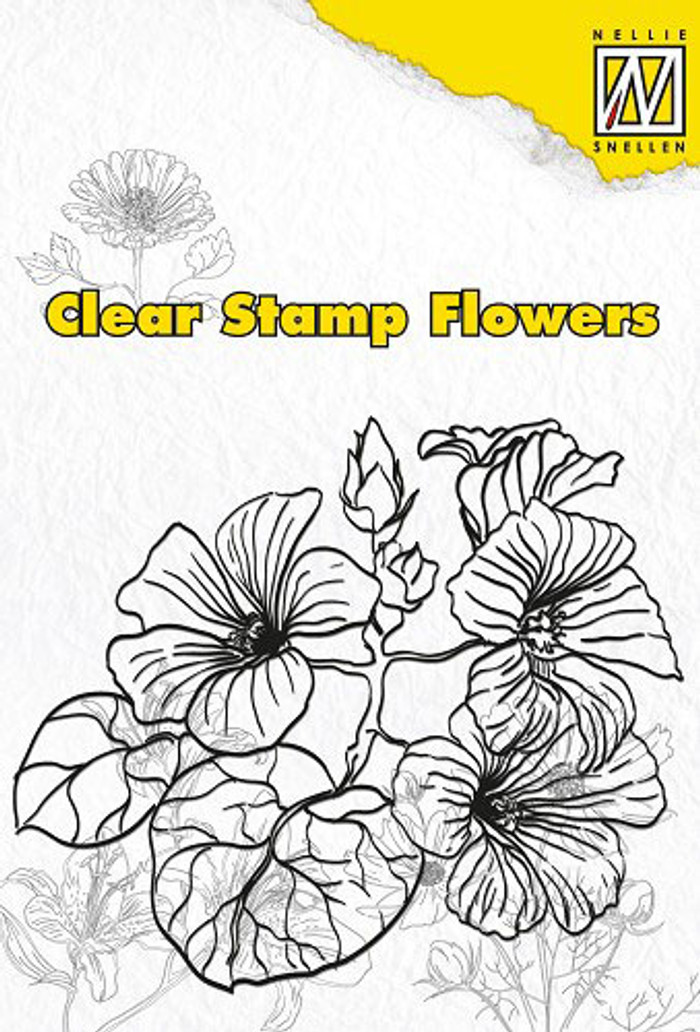Nellie Snellen Clear Flower Stamp - Hibiscus  FLO001