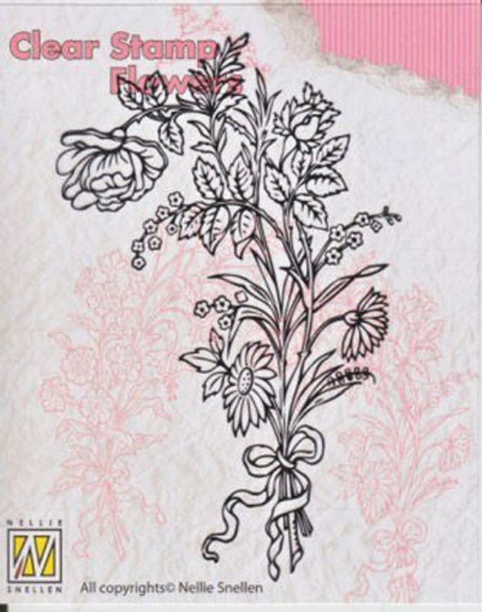 Nellie Snellen Clear Flower Stamp - Bouquet FLO006