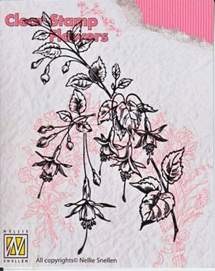 Nellie Snellen Clear Flower Stamp - Fuchsia FLO008