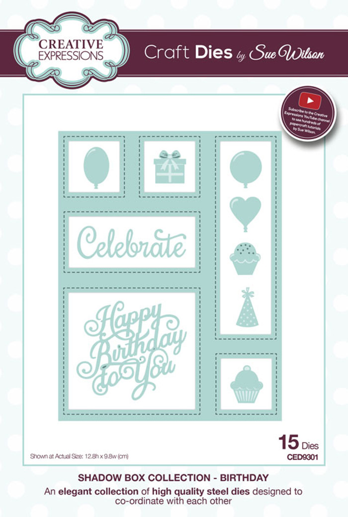 Sue Wilson - Shadow Boxes Collection - Birthday Die CED9301 - Pre-Order 15% Off