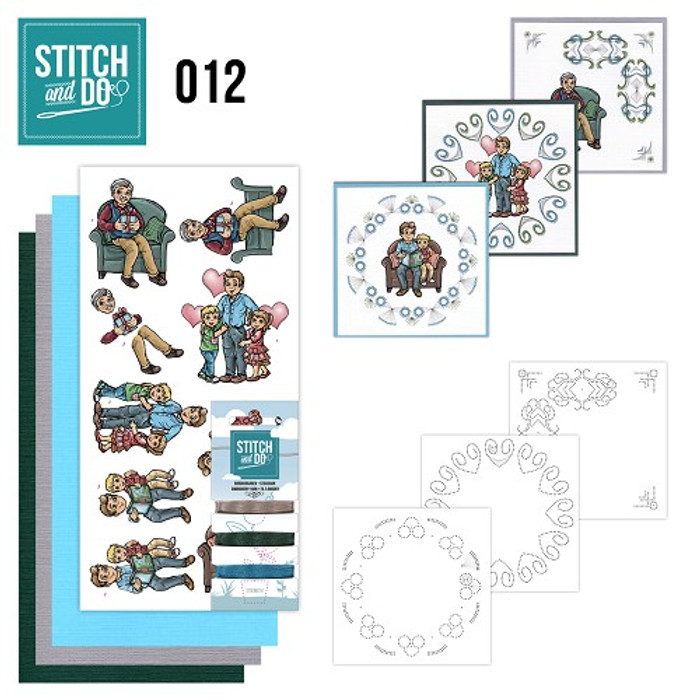 Stitch and Do 12  Card Embroidery Kit - Father's Day