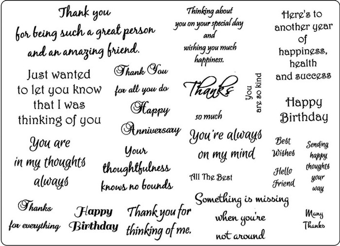 Creative Expressions A5 Unmounted Stamp Plate - Meaningful Sentiments - 22 Stamps Pre-Order 15% Off