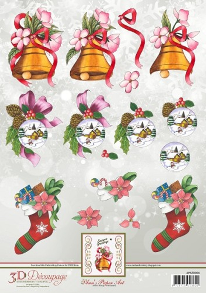 3D Sheet Ann's Paper Art - Christmas Stocking APA3D004