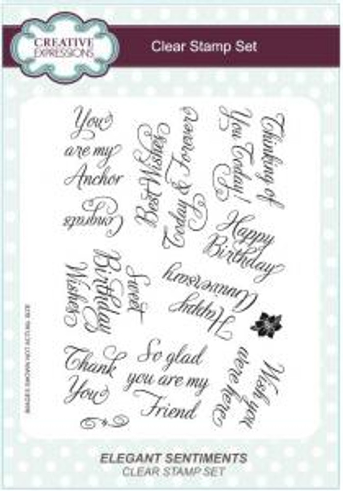 Creative Expressions A5 Unmounted Stamp Plate - Elegant Sentiments CEC745 Pre-Order 15% Off