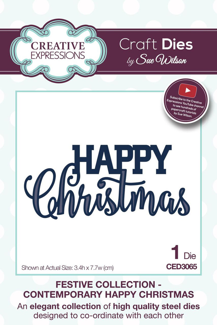 Sue Wilson - The Festive Collection - Contemporary Happy Christmas CED3065 - Pre-Order 15% Off