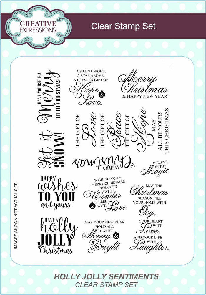 Creative Expressions Clear Stamp Set - Holly Jolly Sentiments CEC771 - Pre-Order 15% Off