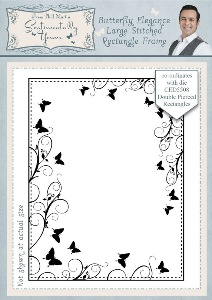 Sentimentally Yours Butterfly Elegance Large Stitched Rectangle Frame Pre Cut Stamp SYBELSRF - Pre-Order 15% Off