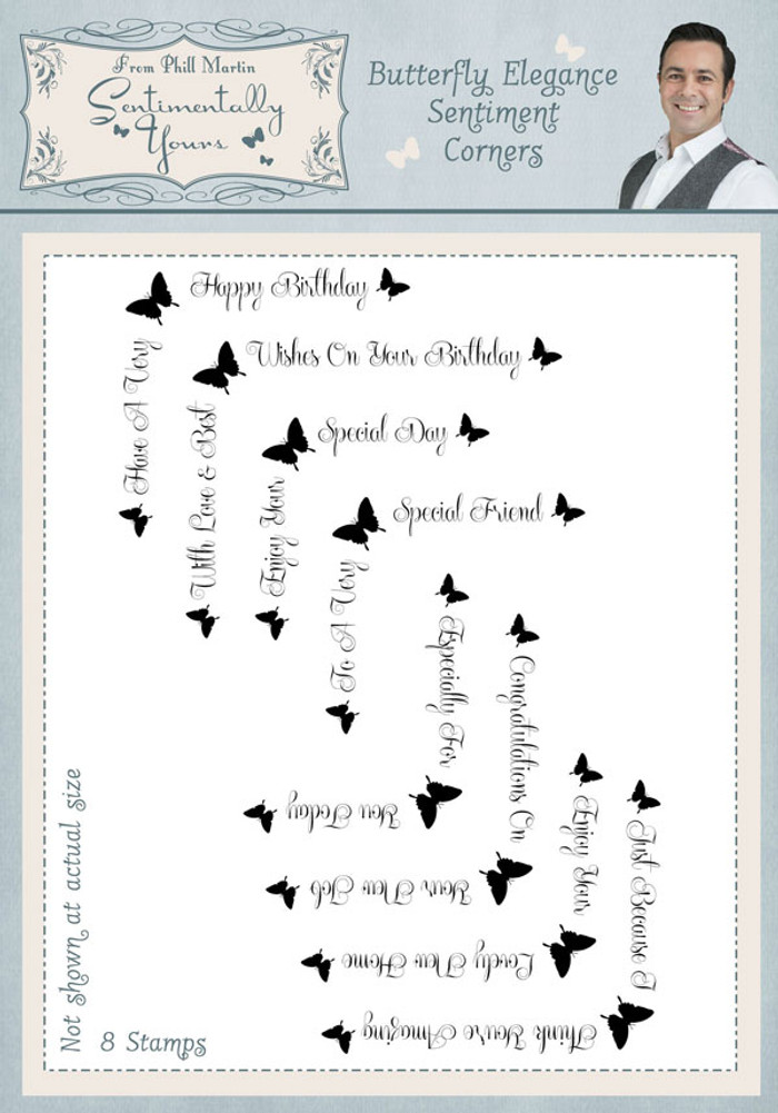 Sentimentally Yours Butterfly Elegance Sentiments Corners Clear Stamp Set  SYBESC - Pre-Order 15% Off