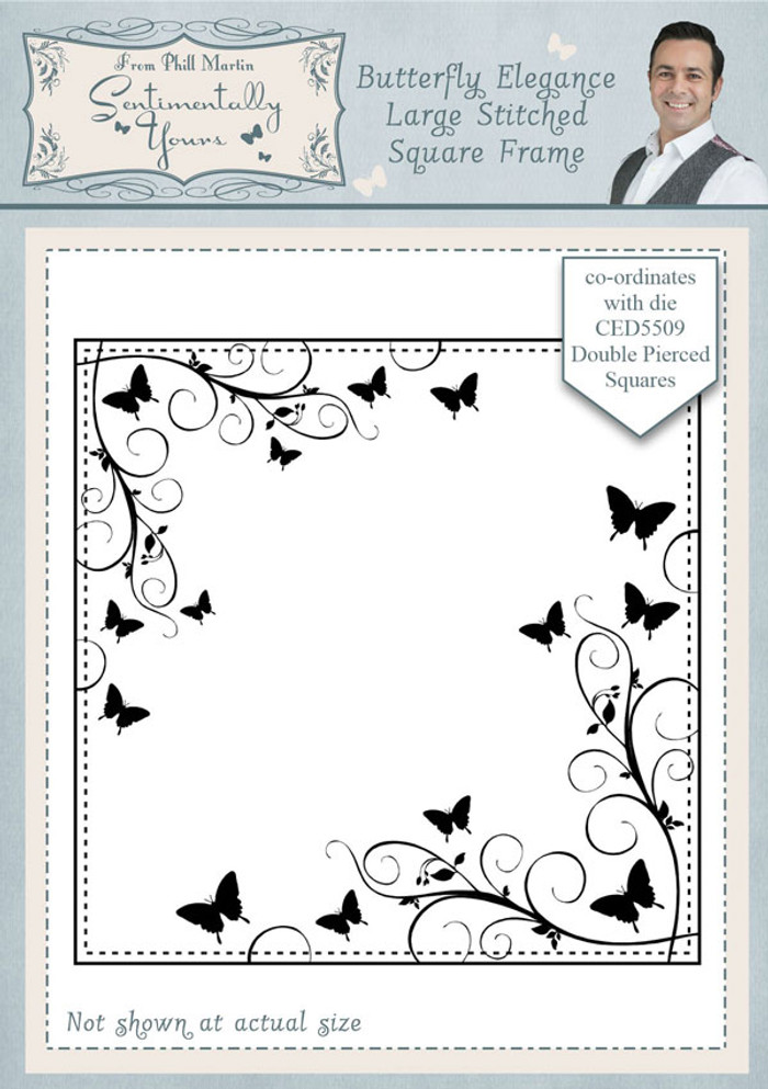 Sentimentally Yours Butterfly Elegance Large Stitched Square Frame Pre Cut Stamp SYBELSSF - Pre-Order 15% Off