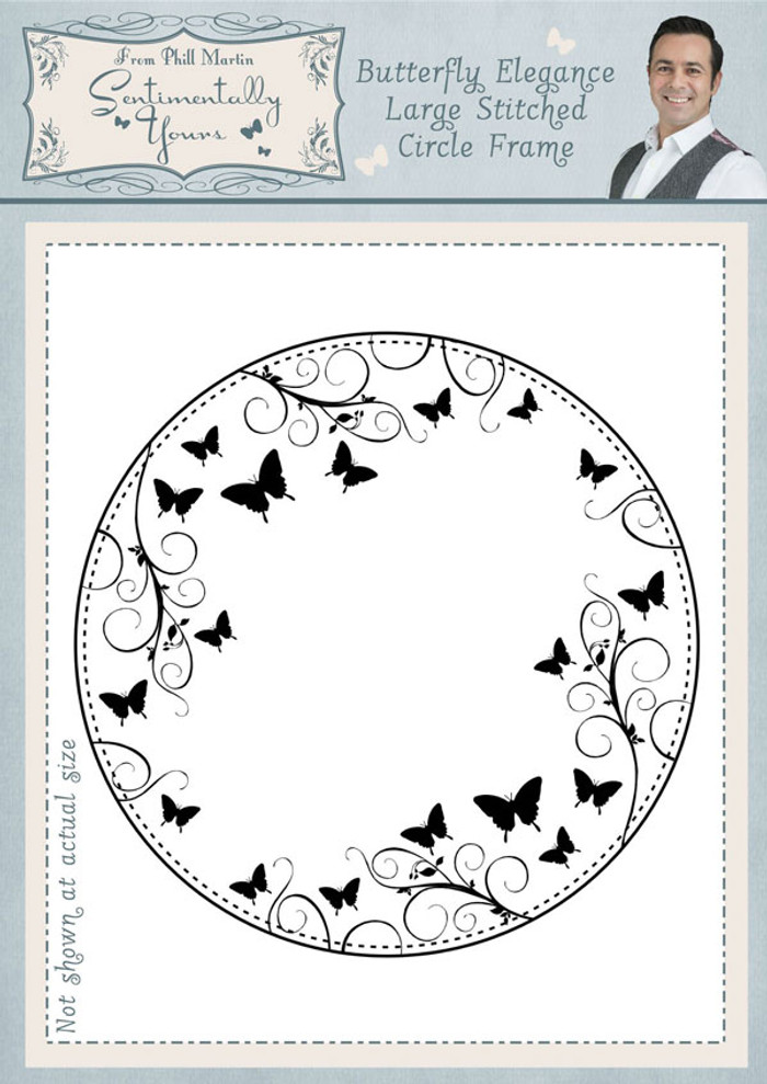 Sentimentally Yours Butterfly Elegance Large Stitched Circle Frame Pre Cut Stamp SYBELSCF - Pre-Order 15% Off