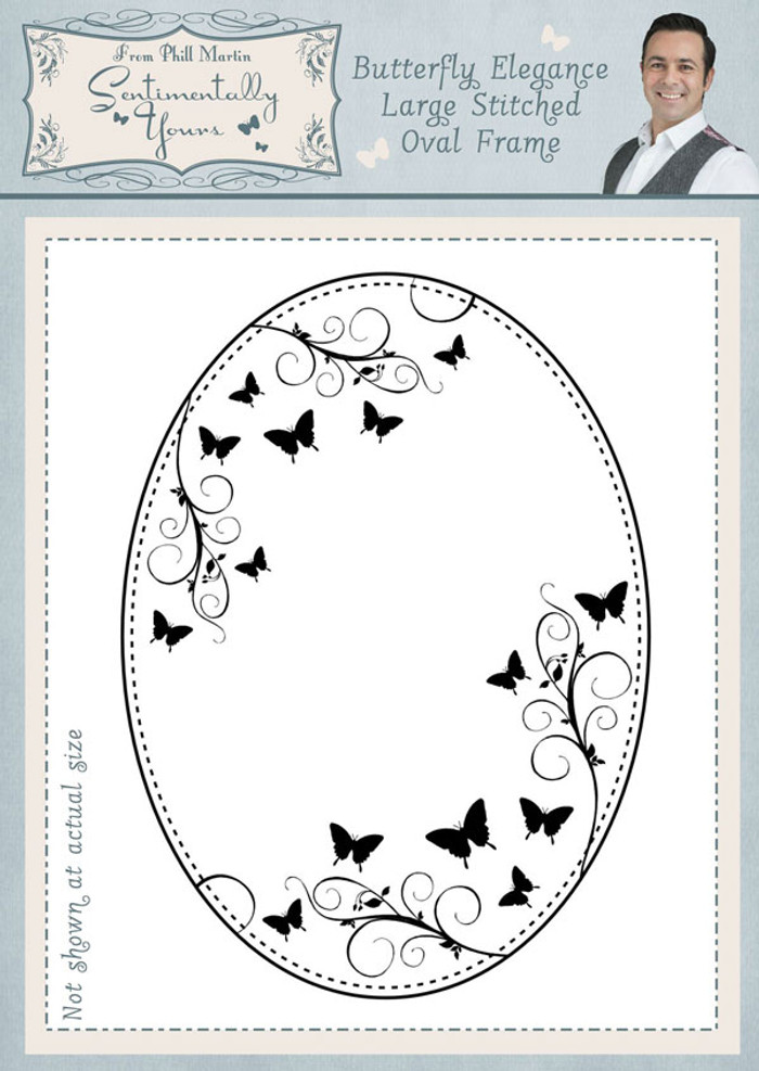 Sentimentally Yours Butterfly Elegance Large Stitched Oval Frame Pre Cut Stamp SYBELSOF  - Pre-Order 15% Off