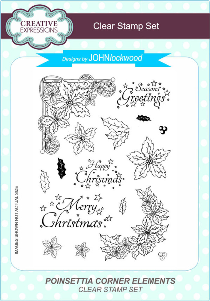 Creative Expressions Poinsettia Corner Elements A5 Clear Stamp Set by John Lockwood CEC798 - Pre-Order 15% Off