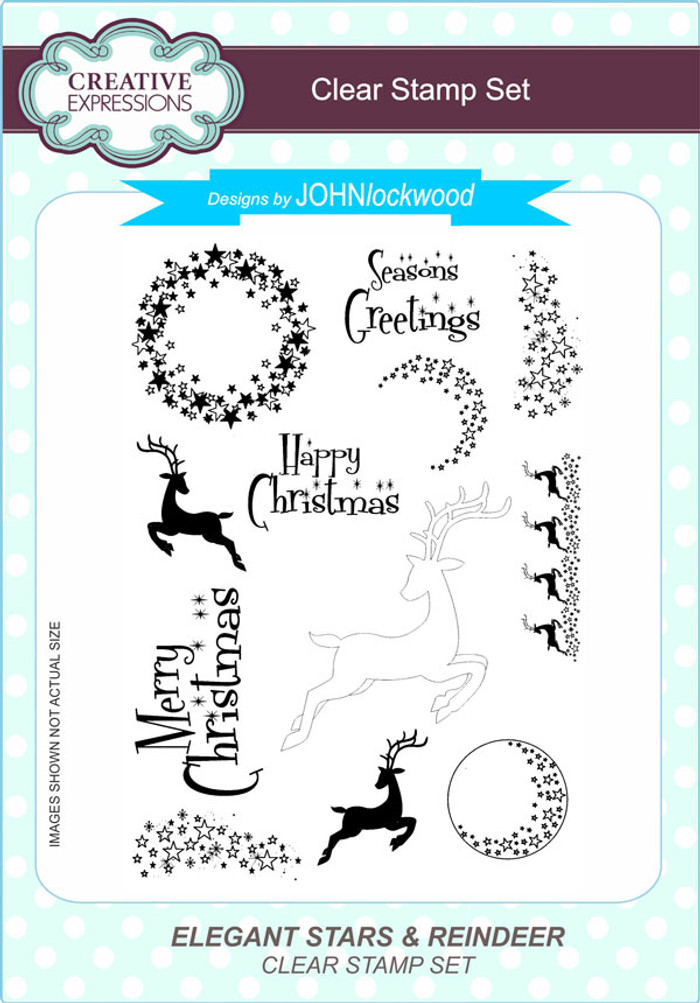 Creative Expressions Elegant Stars & Reindeer A5 Clear Stamp Set by John Lockwood CEC799 - Pre-Order 15% Off