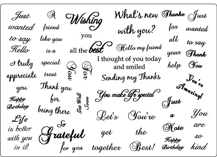 Creative Expressions A5 Unmounted Stamp Plate - Gratitudes  22 Stamps Pre-Order 15% Off