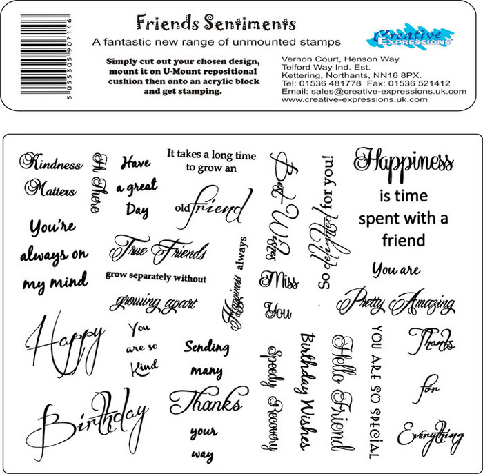 Creative Expressions A5 Unmounted Stamp Plate - Friends Sentiments - 19 Stamps Pre-Order 15% Off
