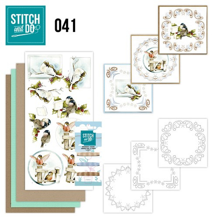 Stitch and Do 41 - Card Embroidery Kit - Christmas Birds