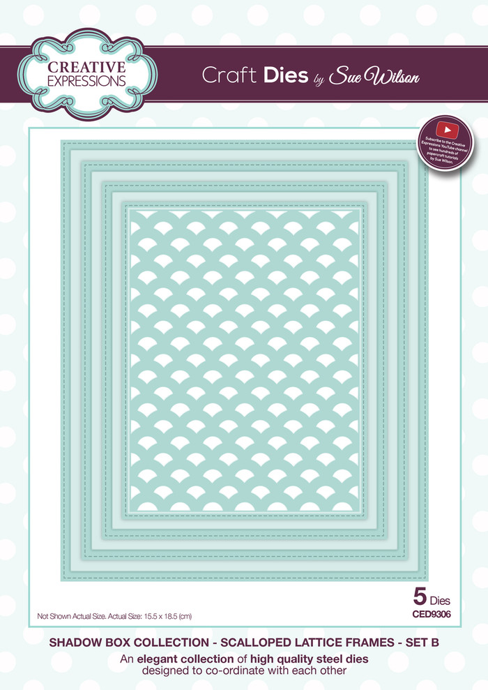 Sue Wilson - Shadow Box Collection - Scalloped Lattice Frames Set B Dies CED9306 - 25% Off