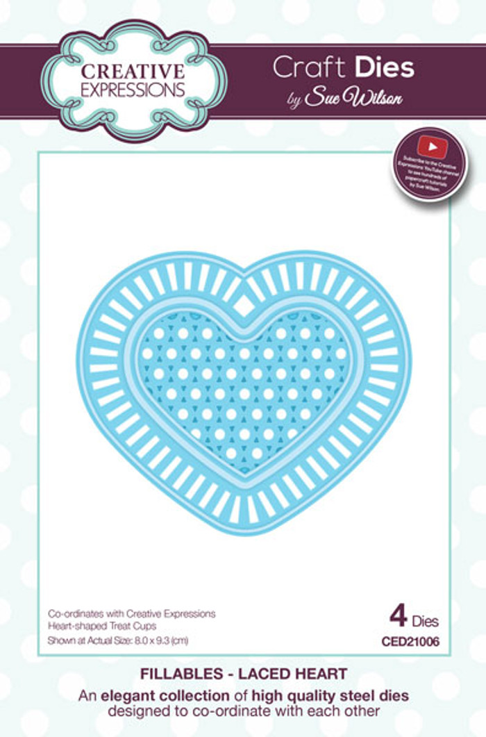 Sue Wilson Fillables Collection Dies -  Laced Heart CED21006 - Pre-Order 15% Off