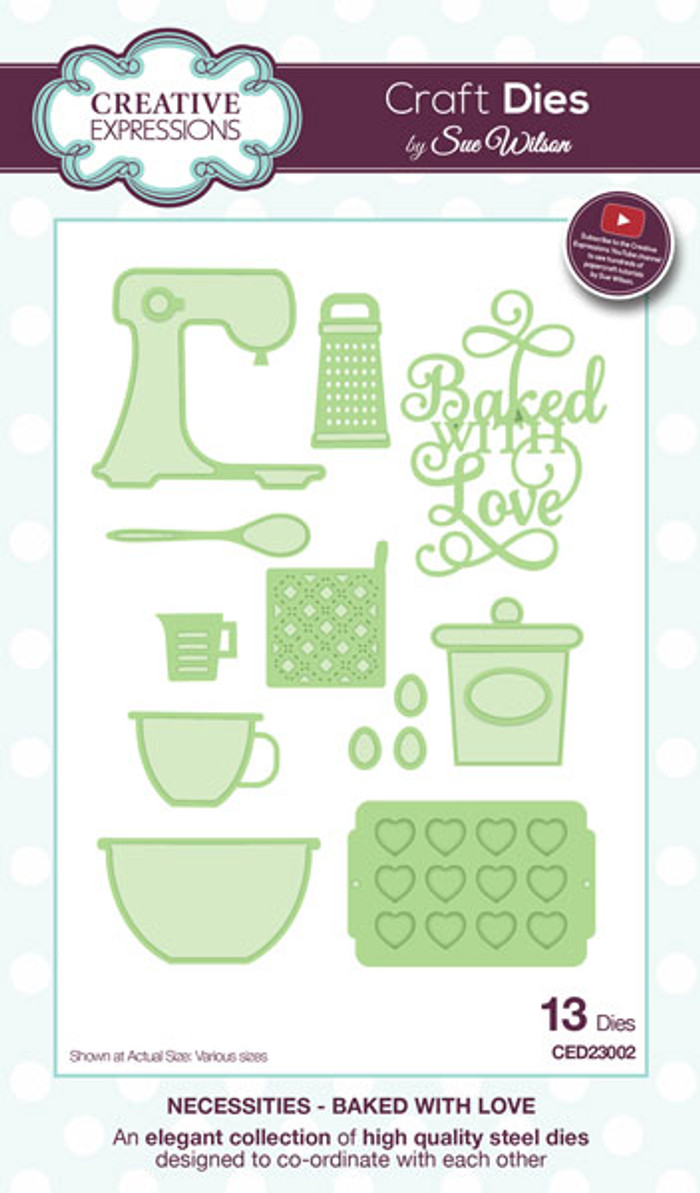 Sue Wilson Necessaties Collection Dies -  Baked with Love CED23002 - Pre-Order 15% Off