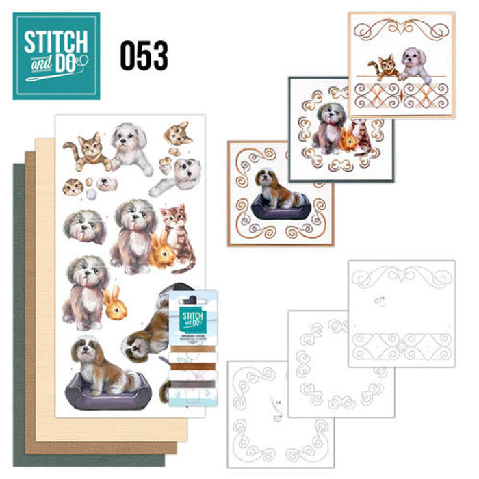 Stitch and Do 53 - Card Embroidery Kit - Pets