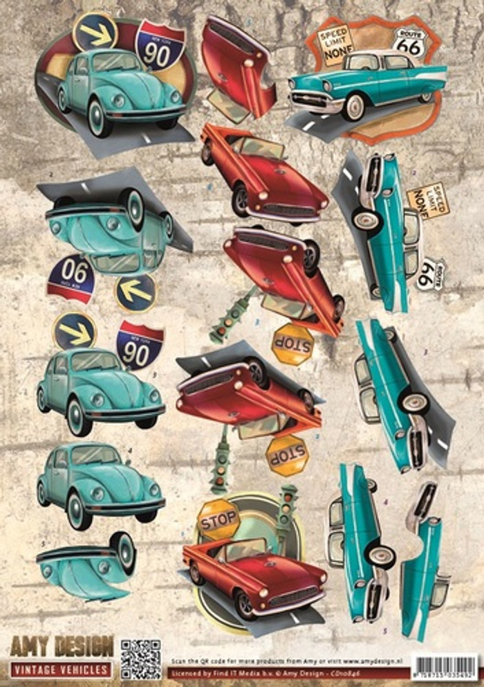 3D Sheet Amy Design Vintage Vehicles - Cars CD10846