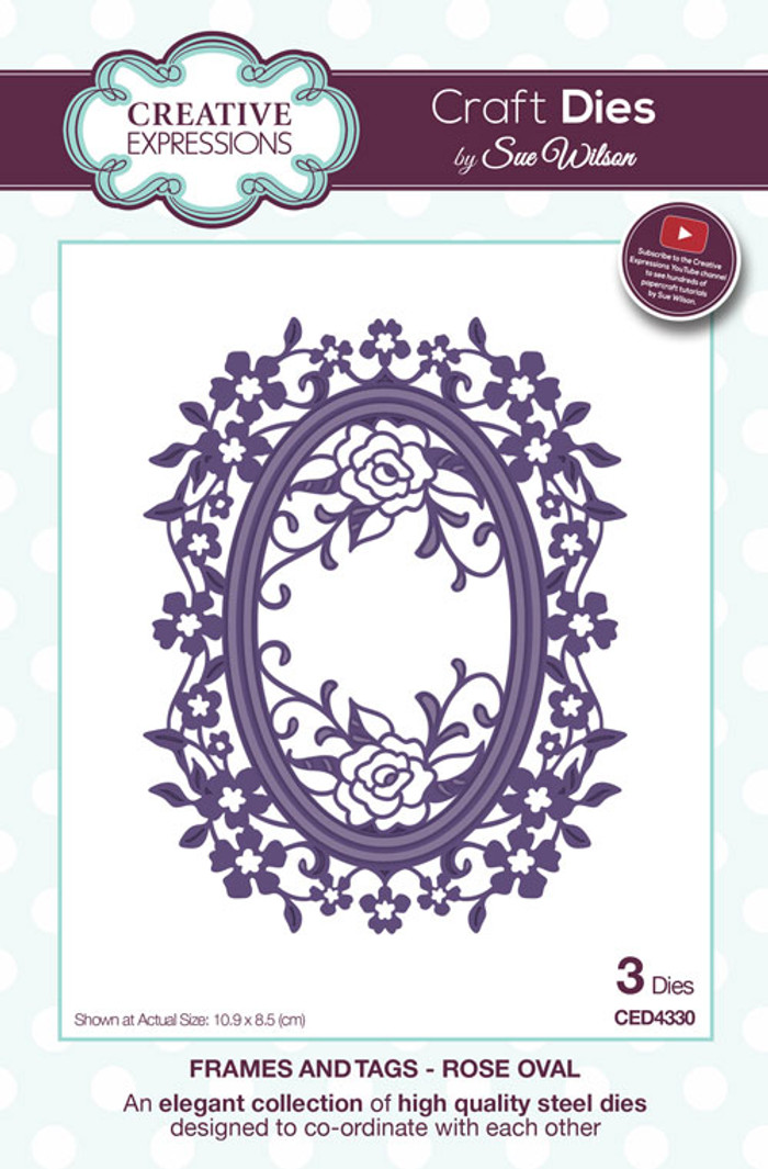 Sue Wilson Frames & Tags Collection Dies - Rose Oval CED4330