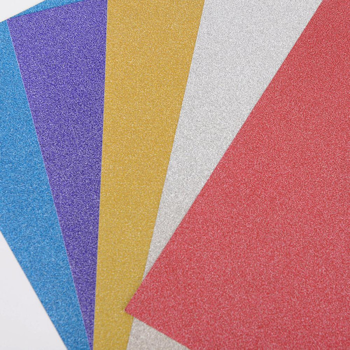 """Glitter Paper Sheets With Adhesive Backing  6""""x 9"""" - 5 Colours"""